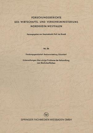 Untersuchungen uber einige Probleme der Behandlung von Blechoberflachen af Dusseldorf Forschungsgesellschaft Blechverarbeitung