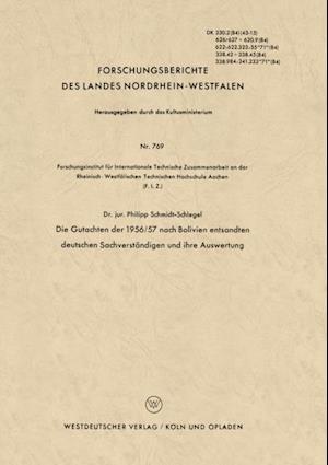 Die Gutachten der 1956/57 nach Bolivien entsandten deutschen Sachverstandigen und ihre Auswertung af Philipp Schmidt-Schlegel