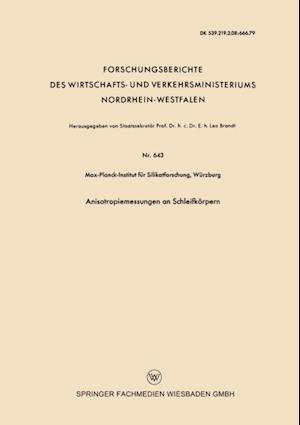Anisotropiemessungen an Schleifkorpern af Wurzburg Max-Planck-Institut fur Silikatforschung