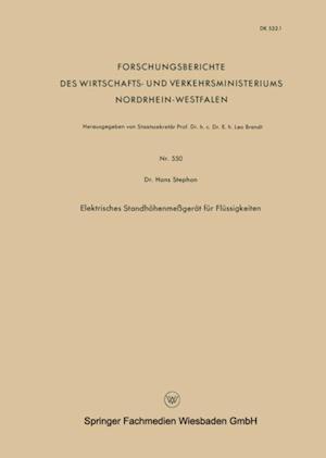 Elektrisches Standhohenmegerat fur Flussigkeiten af Hans Stephan