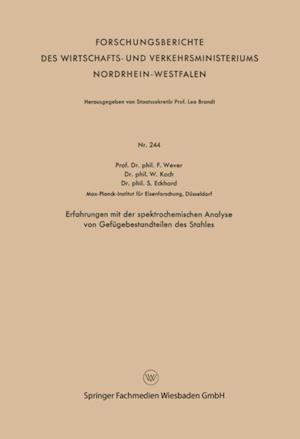 Erfahrungen mit der spektrochemischen Analyse von Gefugebestandteilen des Stahles af Franz Wever