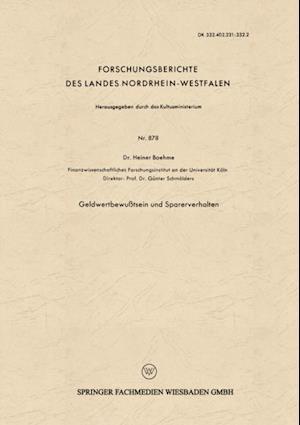 Geldwertbewutsein und Sparerverhalten af Heiner Boehme