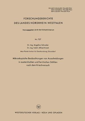 Mikroskopische Beobachtungen von Ausscheidungen in austenitischen und ferritischen Stahlen nach dem Kriechversuch af Angelica Schrader