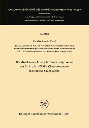 Die NoctuinaeArten (Agrotinae vulgo sensu) aus Dr. h.c. HONE's China-Ausbeuten af Charles Boursin