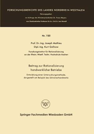 Beitrag zur Rationalisierung handwerklicher Betriebe af Joseph Mathieu