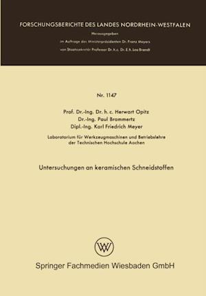 Untersuchungen an keramischen Schneidstoffen af Herwart Opitz