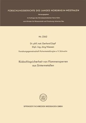 Ruckschlagsicherheit von Flammensperren aus Sintermetallen af Gerhard Zapf