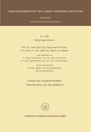 Einflu der eingeschrankten Tubenfunktion auf das Mittelohr af Hans-Joachim Opitz
