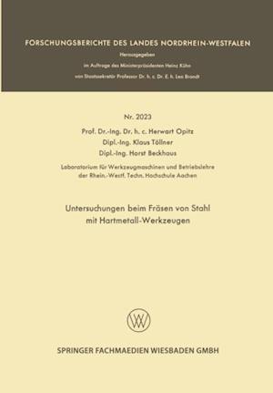 Untersuchungen beim Frasen von Stahl mit Hartmetall-Werkzeugen af Herwart Opitz, Horst Beckhaus, Klaus Tollner