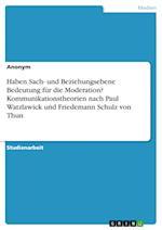Haben Sach- Und Beziehungsebene Bedeutung Fur Die Moderation? Kommunikationstheorien Nach Paul Watzlawick Und Friedemann Schulz Von Thun