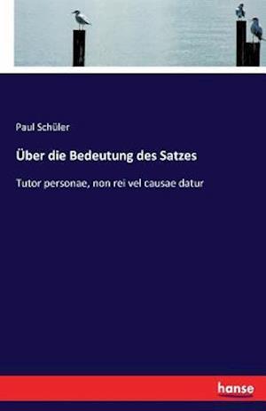 Bog, paperback Uber Die Bedeutung Des Satzes af Paul Schuler