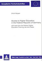 Access to Higher Education in the Federal Republic of Germany af Ulrich Karpen