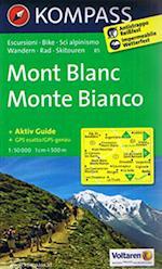 Mont Blanc Monte Bianco, Kompass Wanderkarte 85 (Kompass wanderkarte, nr. 85)