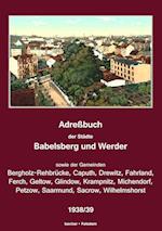 Adressbuch Der Stadte Babelsberg Und Werder, 1938/39