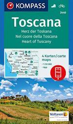 Toscana: Heart of Tuscany, Kompass Hiking & Cycling map 2440 (Kompass Hiking Biking, nr. 2440)