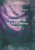 A Memorial of John Henry Boner af Marcus Benjamin