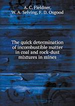 The Quick Determination of Incombustible Matter in Coal and Rock-Dust Mixtures in Mines af A. C. Fieldner, F. D. Osgood, W. a. Selving