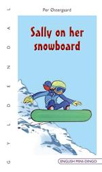 Sally on her snowboard (English Mini-Dingo)