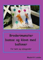 Broderimønster med bamse, klovn og balloner