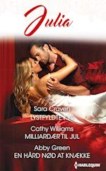 Lystfyldte kys/Milliardær til jul/En hård nød at knække af Abby Green, Sara Craven, Cathy Williams