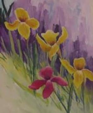 Paint Iris flowers in colours complementary