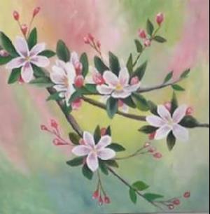 Paint appleflowers with acryllic