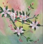 Paint appleflowers with acryllic